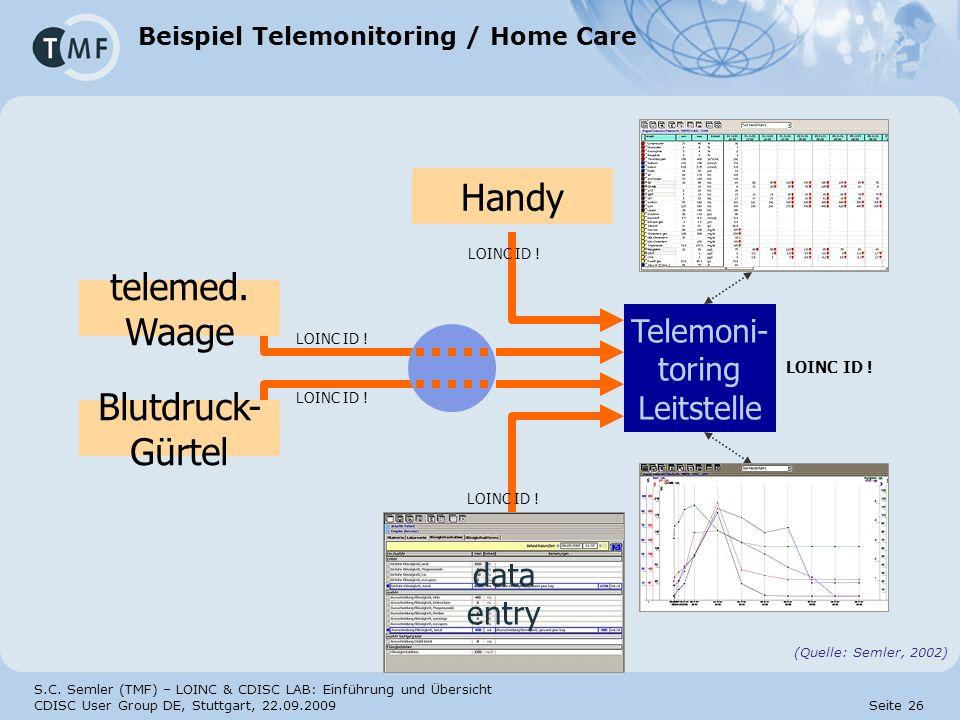 S.C. Semler (TMF) – LOINC & CDISC LAB: Einführung und Übersicht CDISC User Group DE, Stuttgart, 22.09.2009 Seite 26 Beispiel Telemonitoring / Home Car