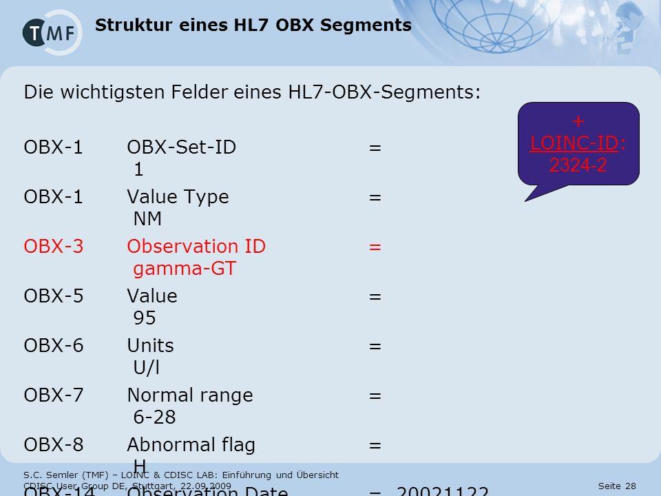 S.C. Semler (TMF) – LOINC & CDISC LAB: Einführung und Übersicht CDISC User Group DE, Stuttgart, 22.09.2009 Seite 28 Struktur eines HL7 OBX Segments Di