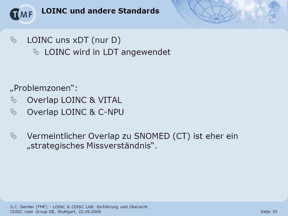 S.C. Semler (TMF) – LOINC & CDISC LAB: Einführung und Übersicht CDISC User Group DE, Stuttgart, 22.09.2009 Seite 33 LOINC und andere Standards LOINC u