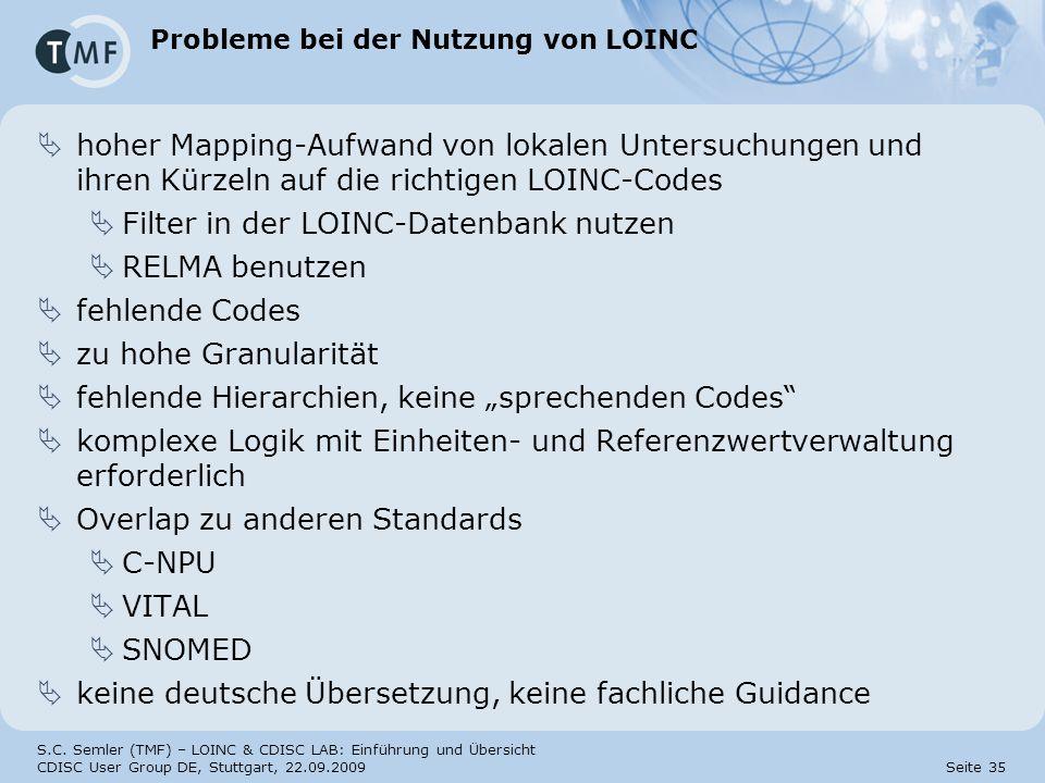 S.C. Semler (TMF) – LOINC & CDISC LAB: Einführung und Übersicht CDISC User Group DE, Stuttgart, 22.09.2009 Seite 35 Probleme bei der Nutzung von LOINC