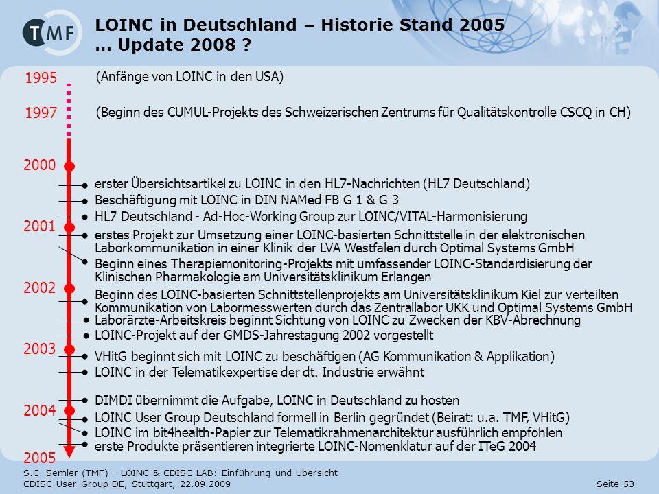 S.C. Semler (TMF) – LOINC & CDISC LAB: Einführung und Übersicht CDISC User Group DE, Stuttgart, 22.09.2009 Seite 53 LOINC in Deutschland – Historie St