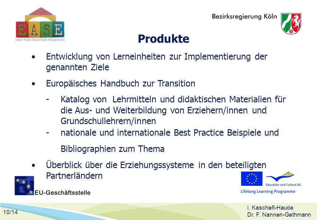 10/14 I. Kaschefi-Haude Dr. F. Nannen-Gethmann Produkte Entwicklung von Lerneinheiten zur Implementierung der genannten Ziele Europäisches Handbuch zu