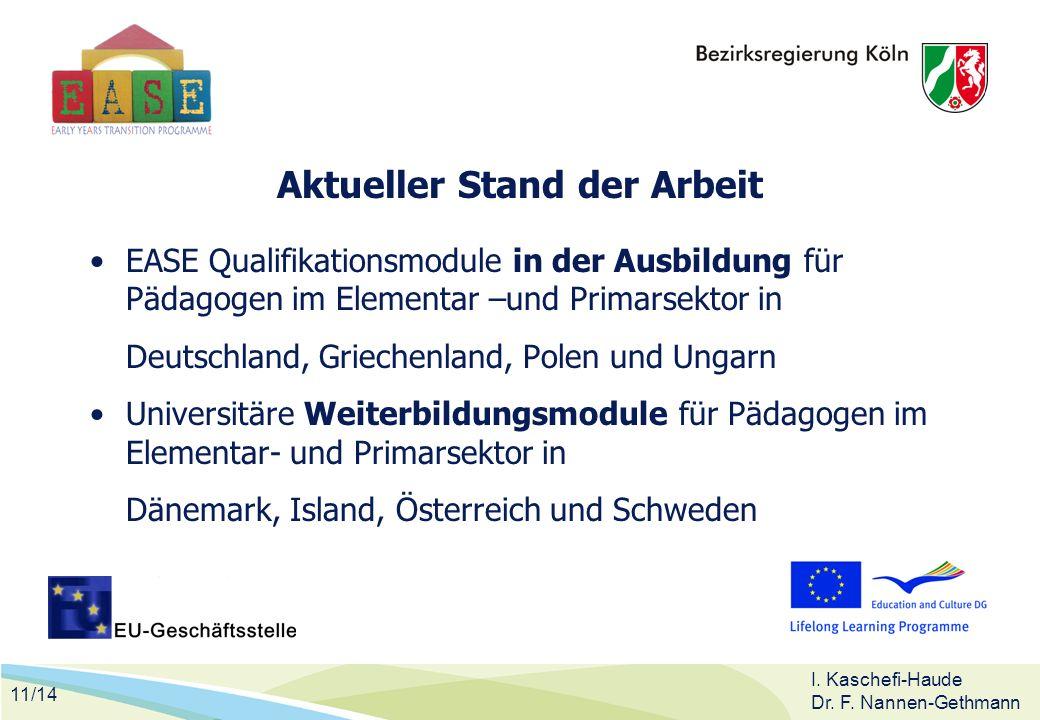 11/14 I. Kaschefi-Haude Dr. F. Nannen-Gethmann Aktueller Stand der Arbeit EASE Qualifikationsmodule in der Ausbildung für Pädagogen im Elementar –und