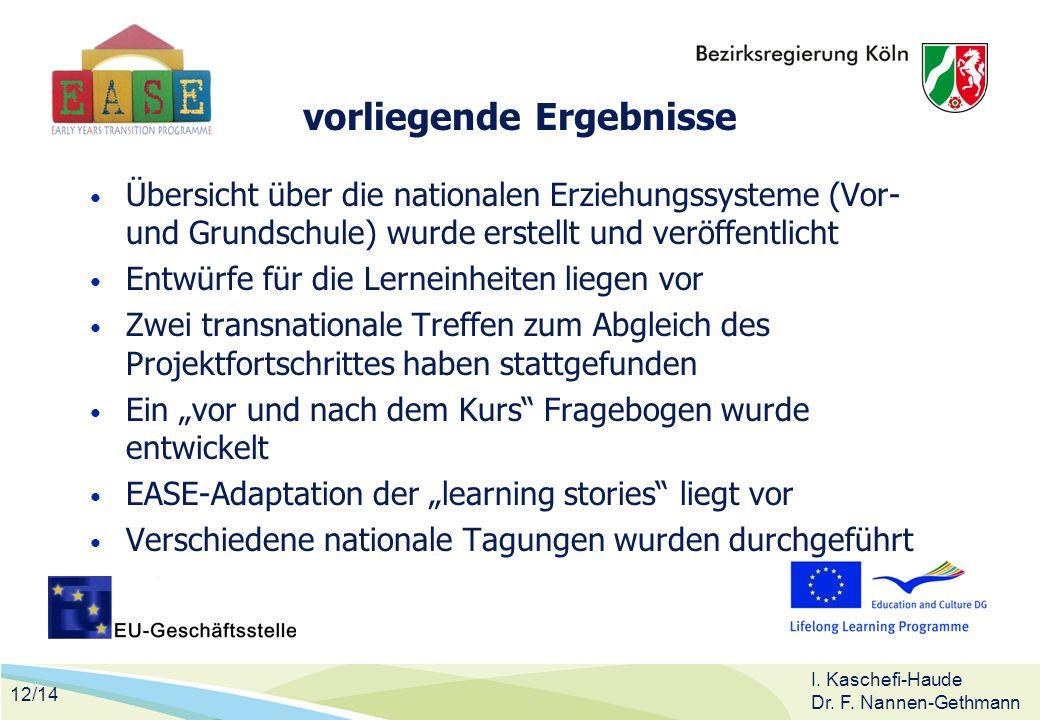 12/14 I. Kaschefi-Haude Dr. F. Nannen-Gethmann vorliegende Ergebnisse Übersicht über die nationalen Erziehungssysteme (Vor- und Grundschule) wurde ers