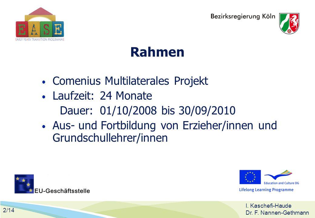 2/14 I. Kaschefi-Haude Dr. F. Nannen-Gethmann Rahmen Comenius Multilaterales Projekt Laufzeit:24 Monate Dauer:01/10/2008 bis 30/09/2010 Aus- und Fortb