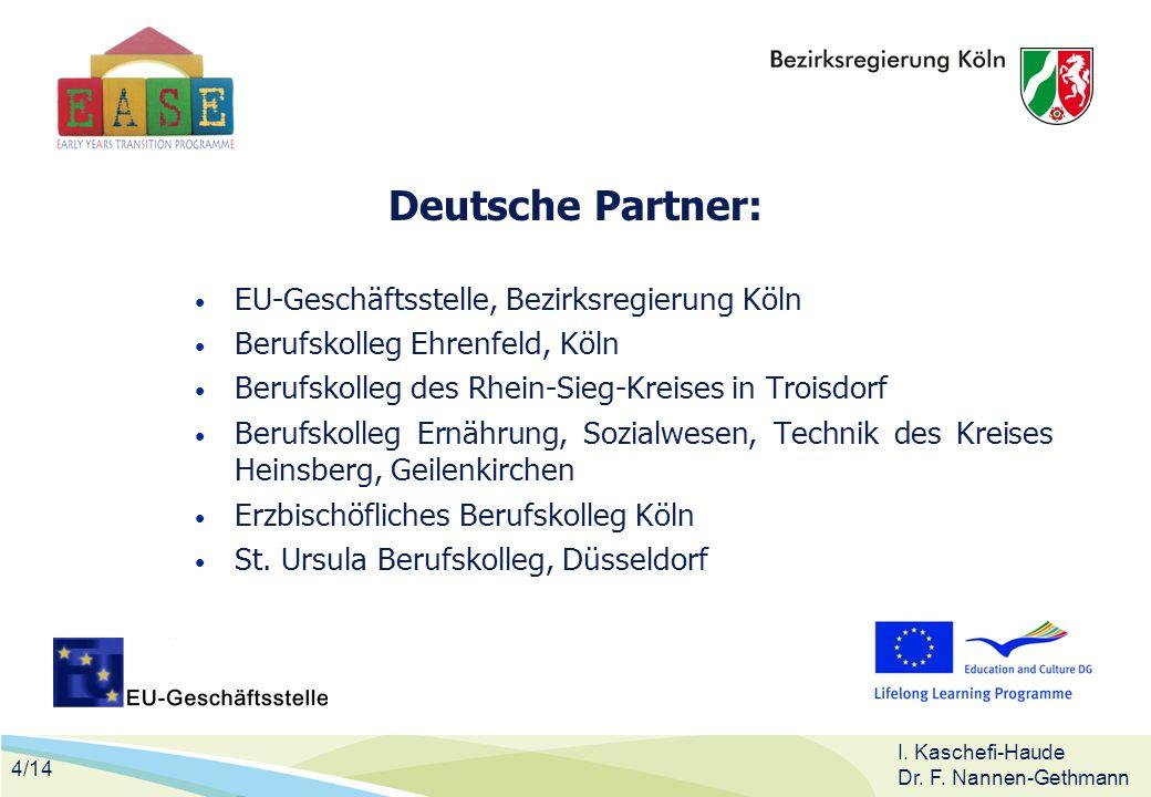4/14 I. Kaschefi-Haude Dr. F. Nannen-Gethmann Deutsche Partner: EU-Geschäftsstelle, Bezirksregierung Köln Berufskolleg Ehrenfeld, Köln Berufskolleg de