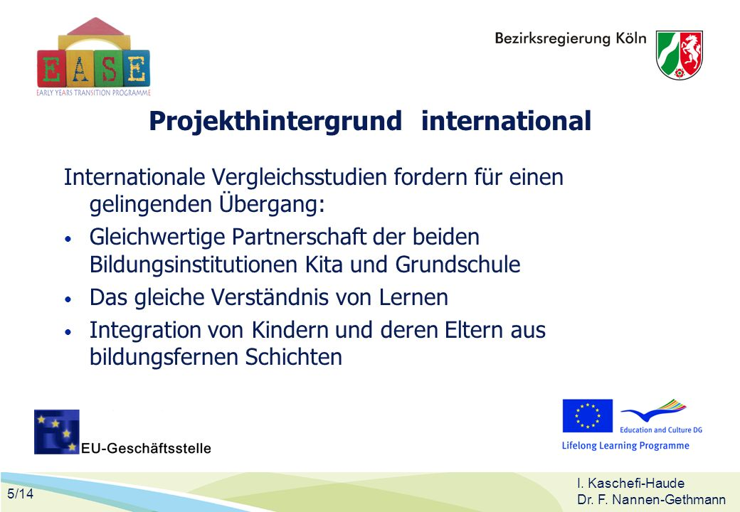 5/14 I. Kaschefi-Haude Dr. F. Nannen-Gethmann Projekthintergrund international Internationale Vergleichsstudien fordern für einen gelingenden Übergang
