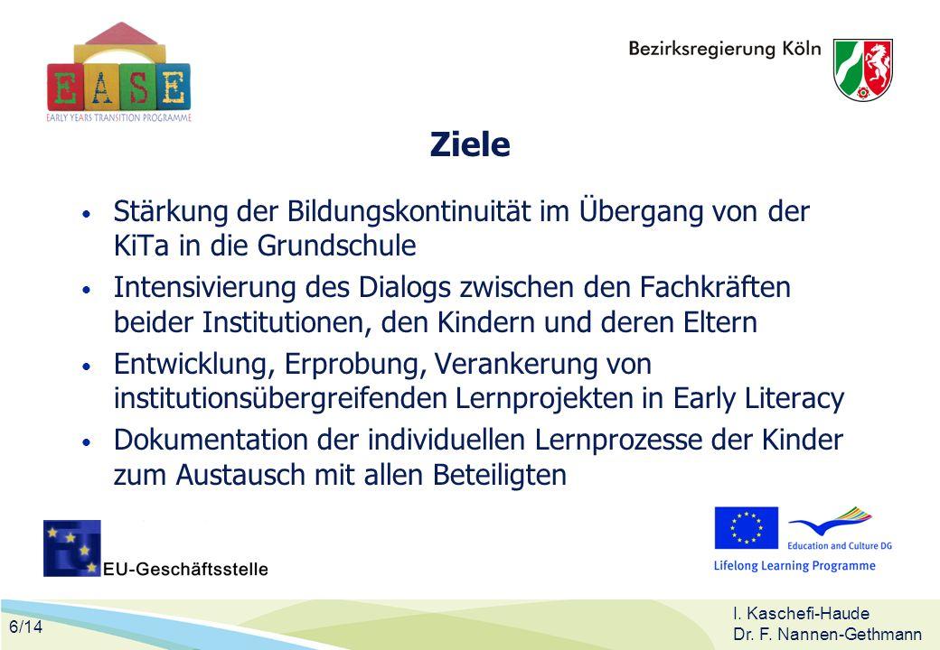 6/14 I. Kaschefi-Haude Dr. F. Nannen-Gethmann Ziele Stärkung der Bildungskontinuität im Übergang von der KiTa in die Grundschule Intensivierung des Di