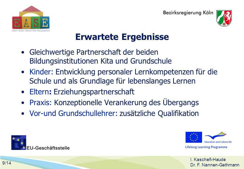 9/14 I. Kaschefi-Haude Dr. F. Nannen-Gethmann Erwartete Ergebnisse Gleichwertige Partnerschaft der beiden Bildungsinstitutionen Kita und Grundschule K