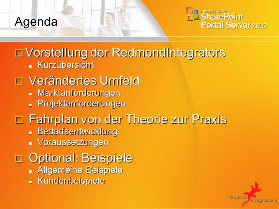 RedmondIntegrators Unsere Passion lautet I3: Integration hoch 3 Wir integrieren SharePoint Technologie in Ihre Geschäftsprozesse.
