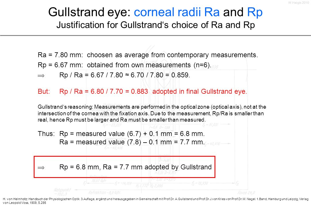 Gullstrand eye: corneal radii Ra and Rp Justification for Gullstrands choice of Ra and Rp Ra = 7.80 mm: choosen as average from contemporary measureme