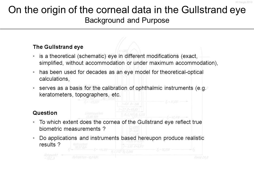 Gullstrand eye Exact schematical eye in accommodative rest for optical calculations From: Siebeck R: Optik des menschlichen Auges.