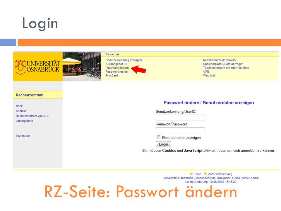 Login RZ-Seite: Passwort ändern