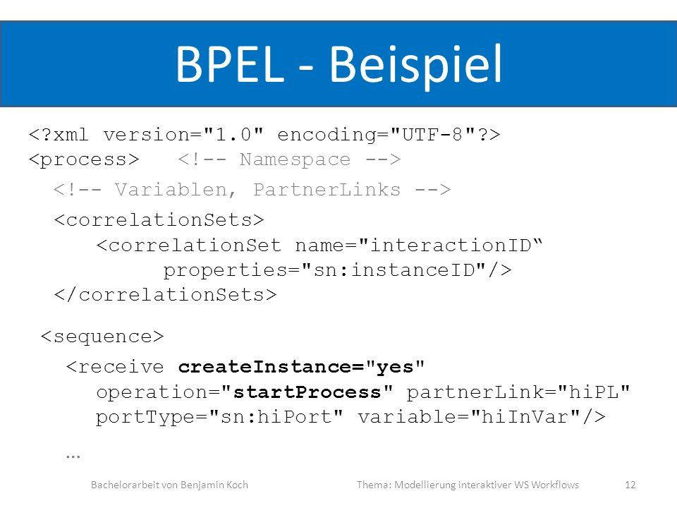 BPEL - Beispiel … Bachelorarbeit von Benjamin KochThema: Modellierung interaktiver WS Workflows 12