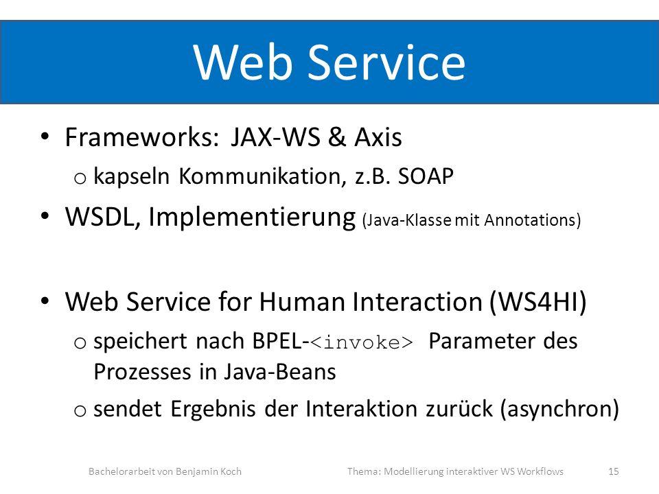 Web Service Frameworks: JAX-WS & Axis o kapseln Kommunikation, z.B. SOAP WSDL, Implementierung (Java-Klasse mit Annotations) Web Service for Human Int