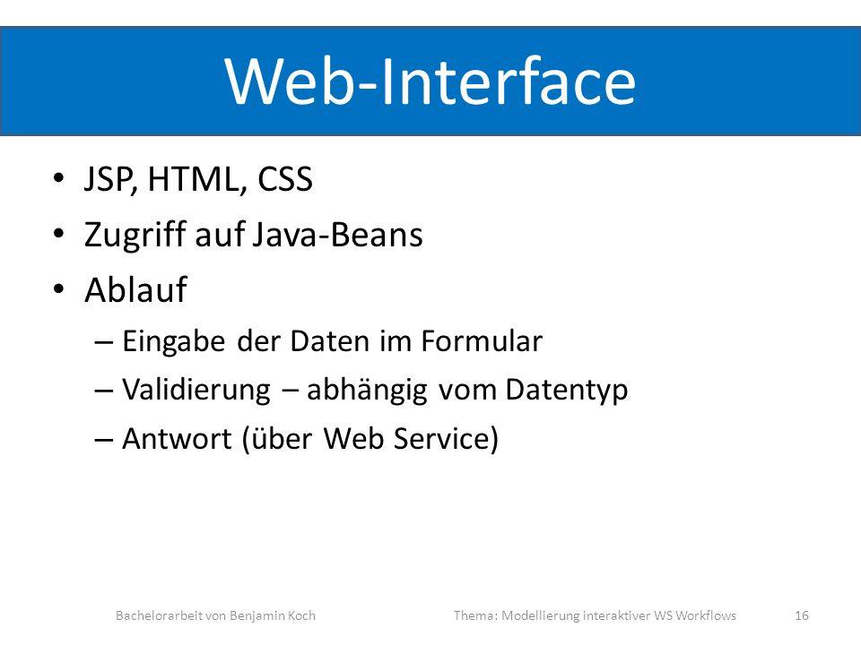 Web-Interface JSP, HTML, CSS Zugriff auf Java-Beans Ablauf – Eingabe der Daten im Formular – Validierung – abhängig vom Datentyp – Antwort (über Web S