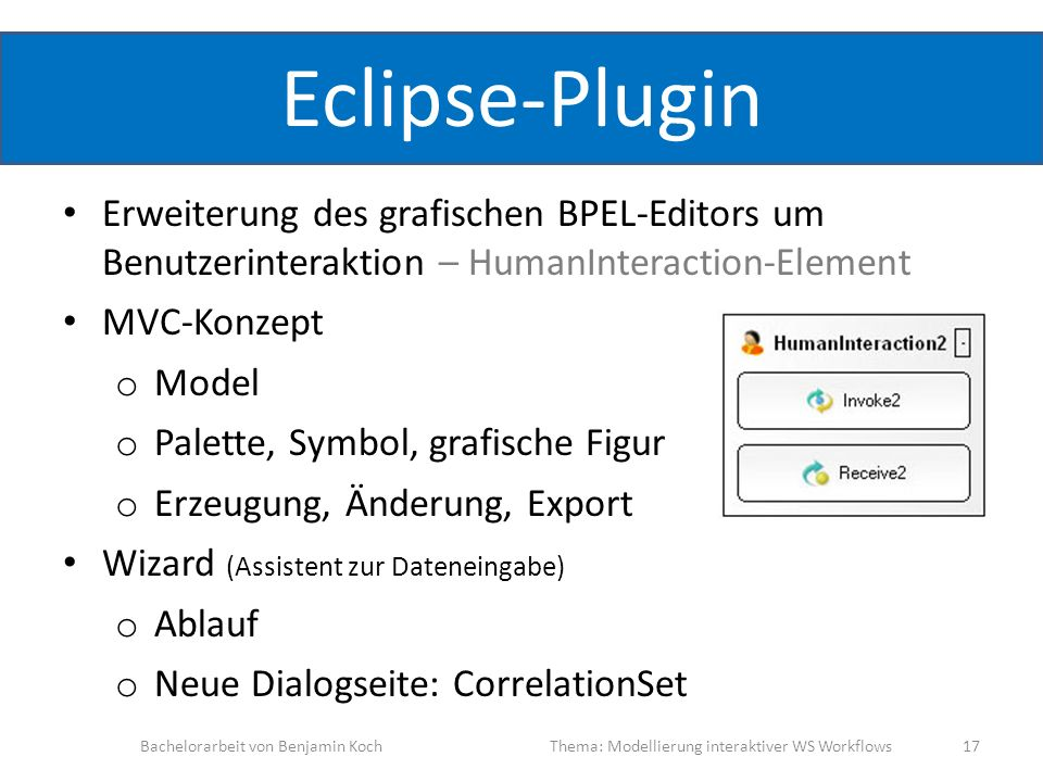 Eclipse-Plugin Erweiterung des grafischen BPEL-Editors um Benutzerinteraktion – HumanInteraction-Element MVC-Konzept o Model o Palette, Symbol, grafis
