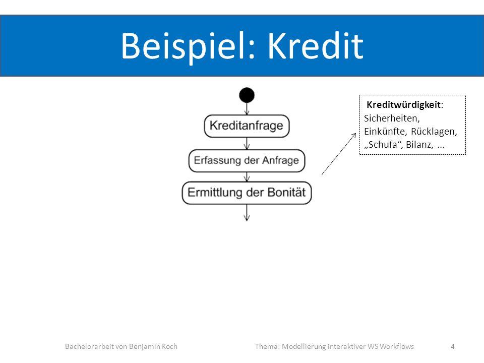 Beispiel: Kredit Bachelorarbeit von Benjamin KochThema: Modellierung interaktiver WS Workflows 4 Kreditwürdigkeit: Sicherheiten, Einkünfte, Rücklagen,