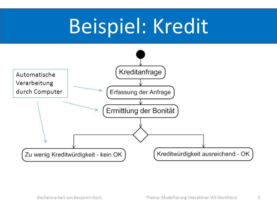 Beispiel: Kredit Bachelorarbeit von Benjamin KochThema: Modellierung interaktiver WS Workflows 5 Automatische Verarbeitung durch Computer