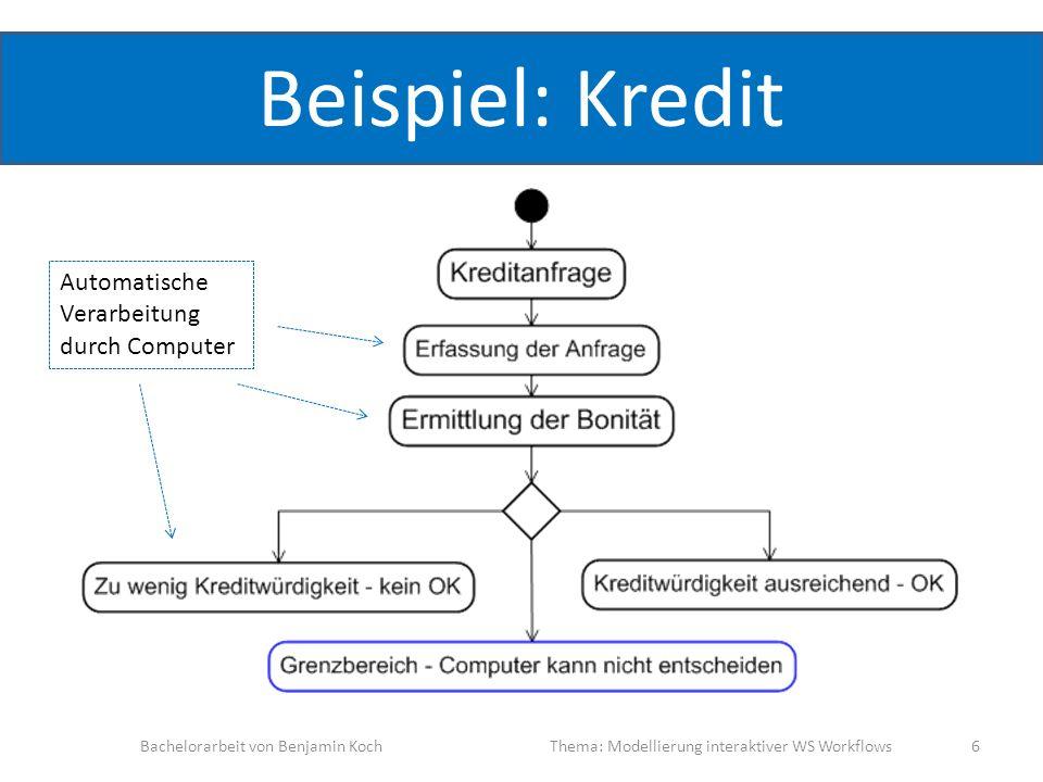 Beispiel: Kredit Bachelorarbeit von Benjamin KochThema: Modellierung interaktiver WS Workflows 6 Automatische Verarbeitung durch Computer