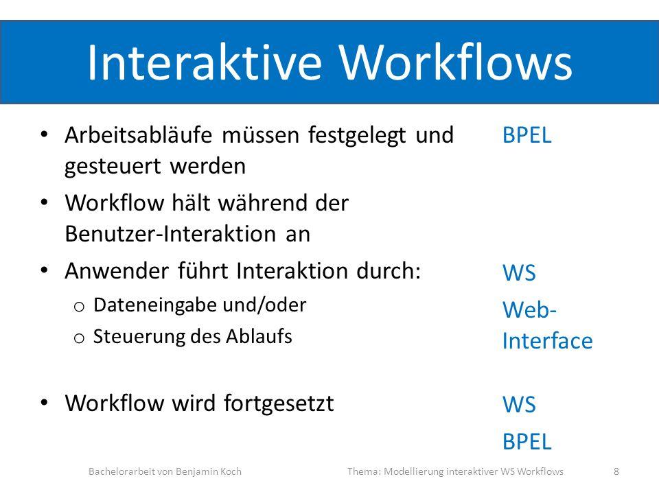 Interaktive Workflows Arbeitsabläufe müssen festgelegt und gesteuert werden Workflow hält während der Benutzer-Interaktion an Anwender führt Interakti