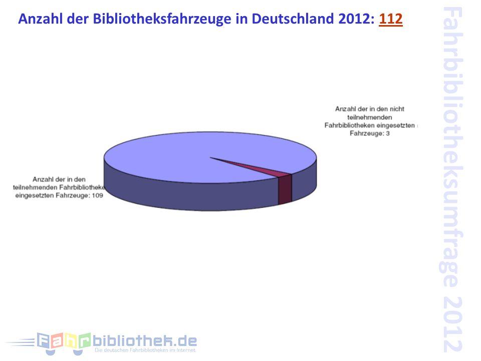Fahrbibliotheksumfrage 2012 Anzahl der Bibliotheksfahrzeuge in Deutschland 2012: 112
