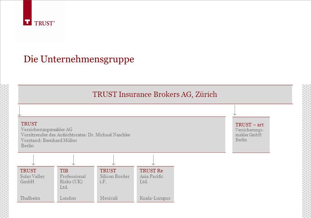 Die Unternehmensgruppe TRUST Insurance Brokers AG, Zürich TRUST Versicherungsmakler AG Vorsitzender des Aufsichtsrates: Dr. Michael Naschke Vorstand: