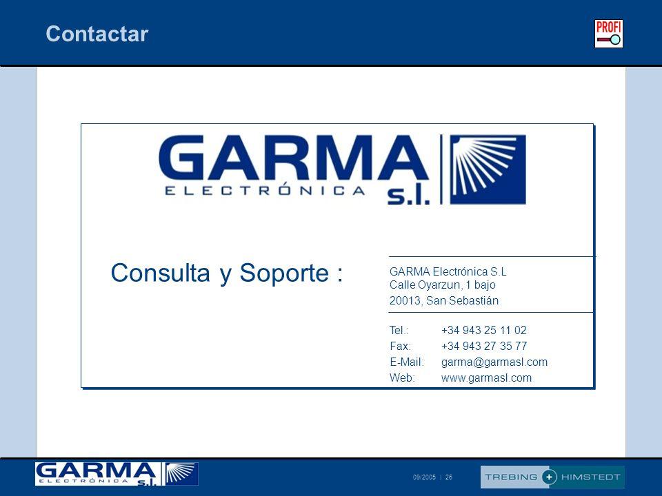 © Trebing & Himstedt 09/2005 | 26 Contactar GARMA Electrónica S.L Calle Oyarzun, 1 bajo 20013, San Sebastián Tel.:+34 943 25 11 02 Fax:+34 943 27 35 7