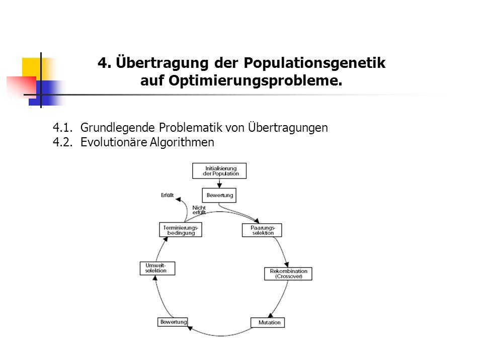 4. Übertragung der Populationsgenetik auf Optimierungsprobleme. 4.1.Grundlegende Problematik von Übertragungen 4.2.Evolutionäre Algorithmen