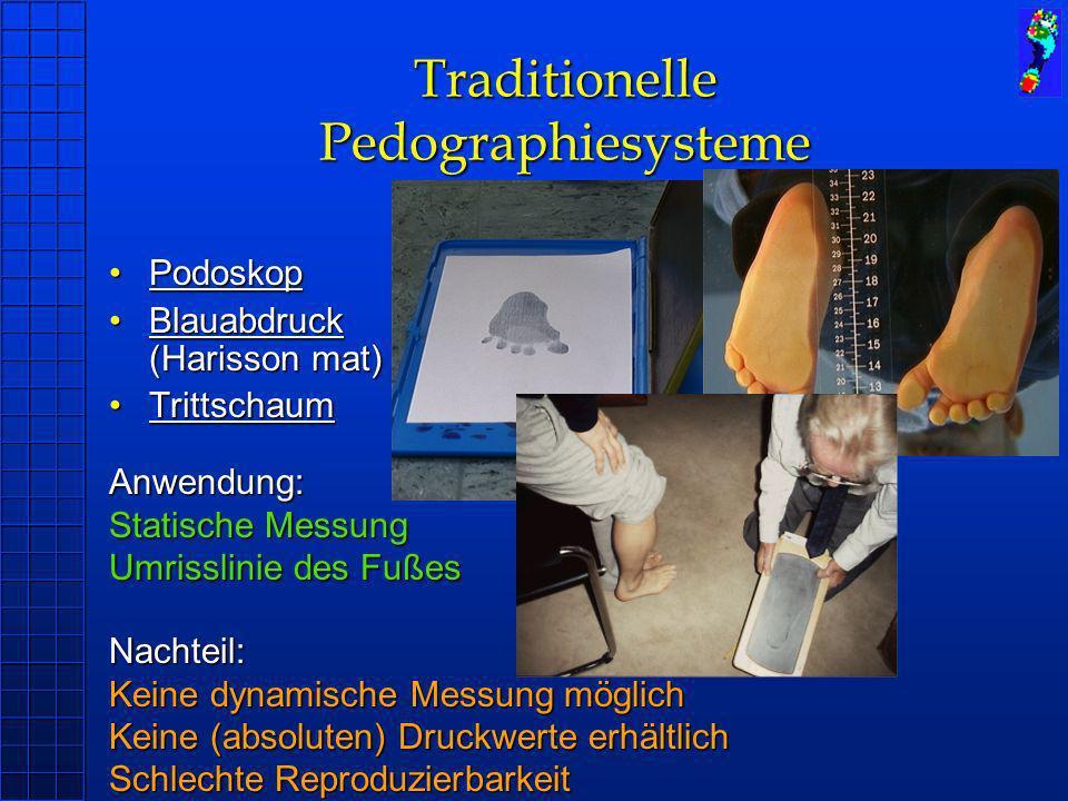 Traditionelle Pedographiesysteme PodoskopPodoskop Blauabdruck (Harisson mat)Blauabdruck (Harisson mat) TrittschaumTrittschaum Anwendung: Statische Mes