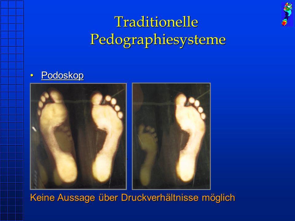 Traditionelle Pedographiesysteme PodoskopPodoskop BlauabdruckBlauabdruck TrittschaumTrittschaum Anwendung: Statische Messung Umrisslinie des Fußes Nac
