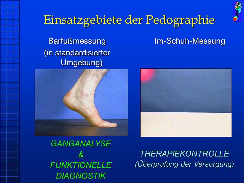 Barfußmessung (in standardisierter Umgebung) Im-Schuh-Messung GANGANALYSE&FUNKTIONELLEDIAGNOSTIK THERAPIEKONTROLLE (Überprüfung der Versorgung) Einsat