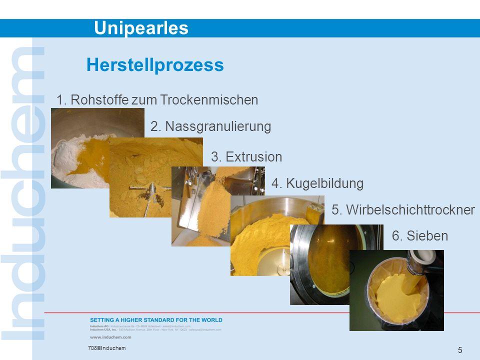 Unipearles 708©Induchem 5 Herstellprozess 1. Rohstoffe zum Trockenmischen 2. Nassgranulierung 3. Extrusion 4. Kugelbildung 5. Wirbelschichttrockner 6.