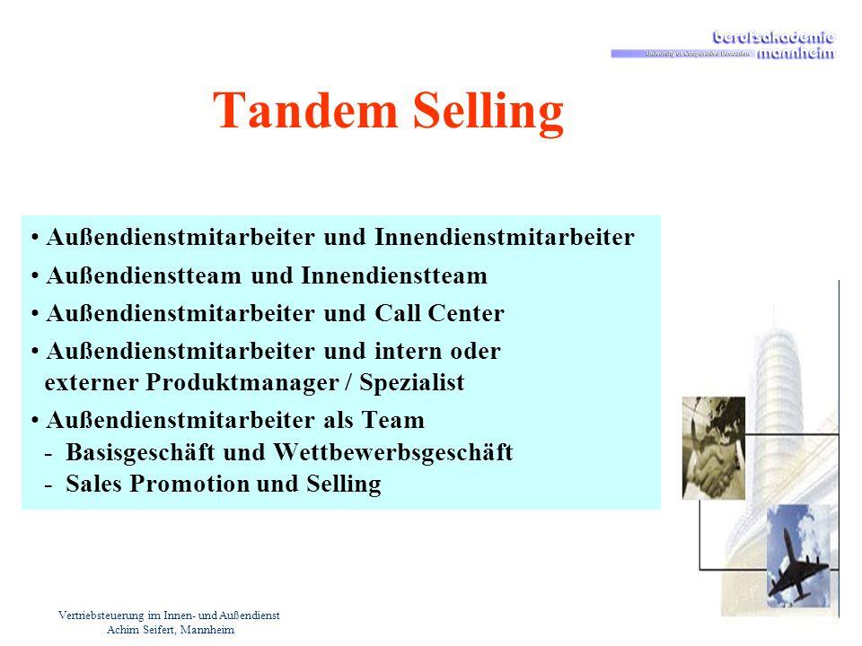 Vertriebsteuerung im Innen- und Außendienst Achim Seifert, Mannheim Tandem Selling Außendienstmitarbeiter und Innendienstmitarbeiter Außendienstteam u