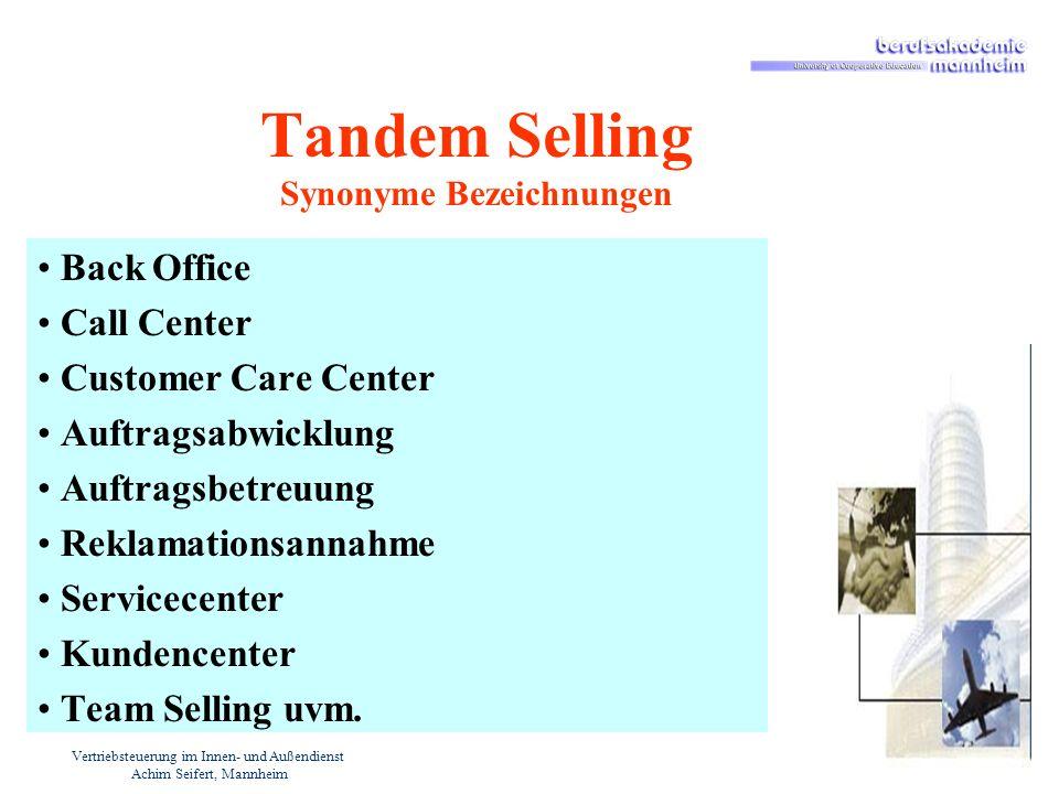 Vertriebsteuerung im Innen- und Außendienst Achim Seifert, Mannheim Tandem Selling Synonyme Bezeichnungen Back Office Call Center Customer Care Center