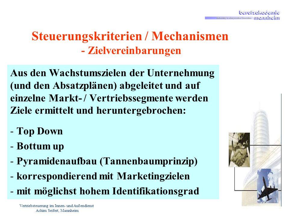 Vertriebsteuerung im Innen- und Außendienst Achim Seifert, Mannheim Steuerungskriterien / Mechanismen - Zielvereinbarungen Aus den Wachstumszielen der