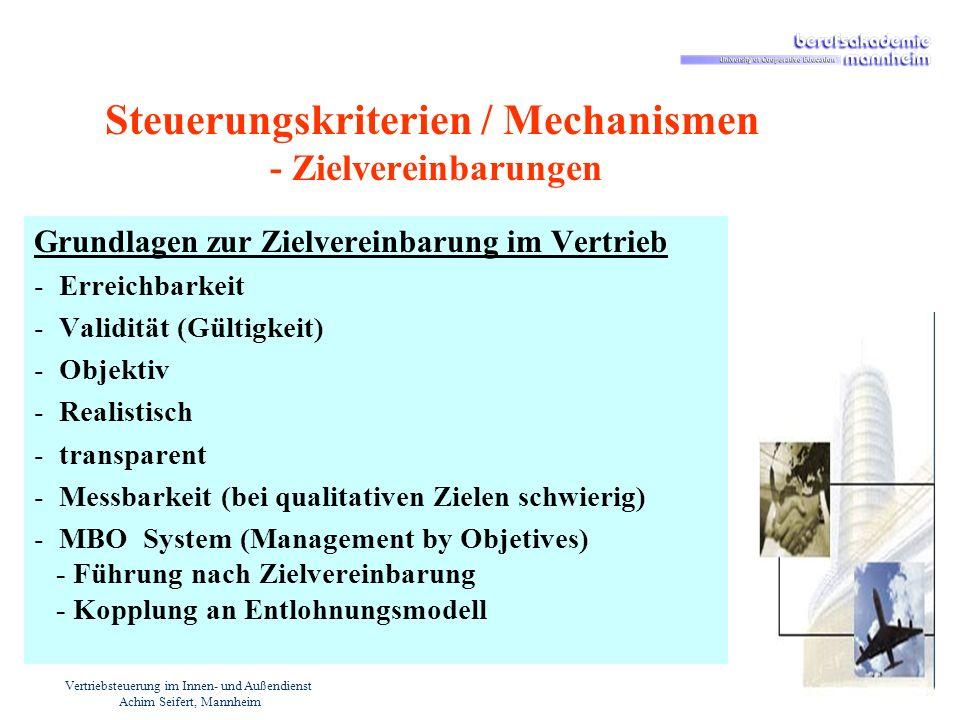 Vertriebsteuerung im Innen- und Außendienst Achim Seifert, Mannheim Steuerungskriterien / Mechanismen - Zielvereinbarungen Grundlagen zur Zielvereinba