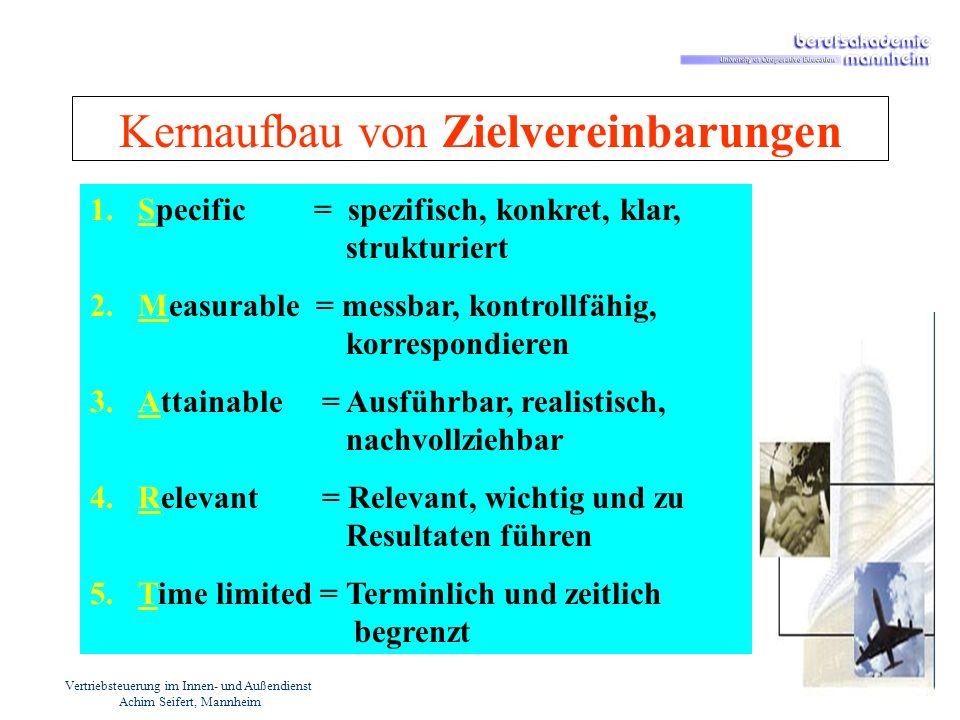 Vertriebsteuerung im Innen- und Außendienst Achim Seifert, Mannheim Steuerungskriterien / Mechanismen - Zielvereinbarungen Kriterien / Inhalte für quantitative Zielvereinbarung im Vertrieb: Produkte / Leistungen / Sortimente Absatzmenge (Stück,kg,qm, Einheiten) Verkaufserlöse (Umsatzgrößen) Deckungsbeitrag (DB I, DB II, DB III) -EBIT Gewinn / Ertrag / Rohertrag Kostenreduktion Marktanteile Marktwachstum