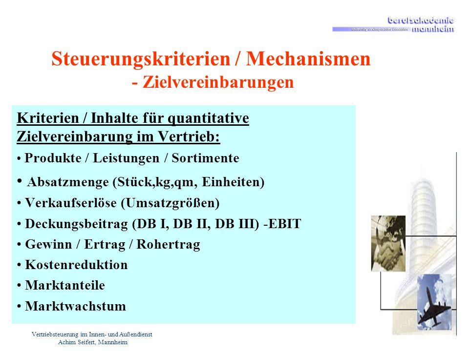 Vertriebsteuerung im Innen- und Außendienst Achim Seifert, Mannheim Steuerungskriterien / Mechanismen - Zielvereinbarungen Kriterien / Inhalte für qua