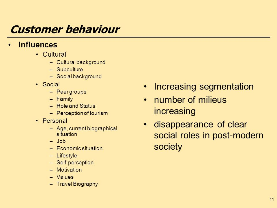 Customer behaviour Influences Cultural –Cultural background –Subculture –Social background Social –Peer groups –Family –Role and Status –Perception of