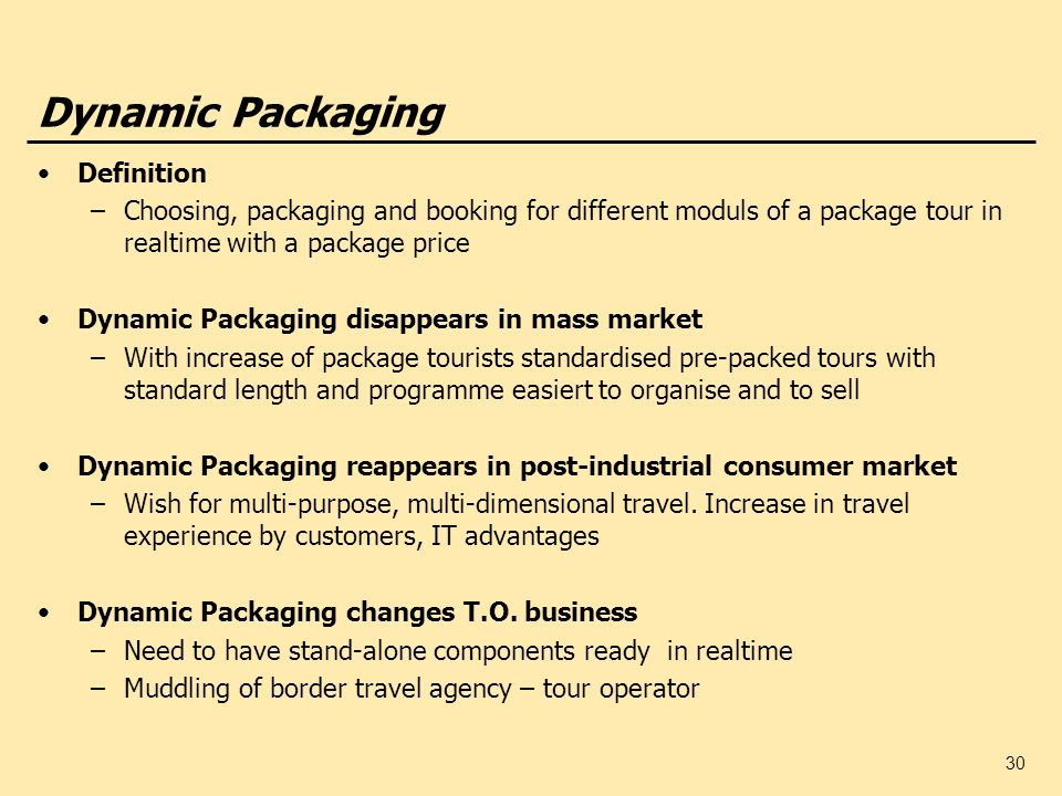 30 Dynamic Packaging Definition –Choosing, packaging and booking for different moduls of a package tour in realtime with a package price Dynamic Packa