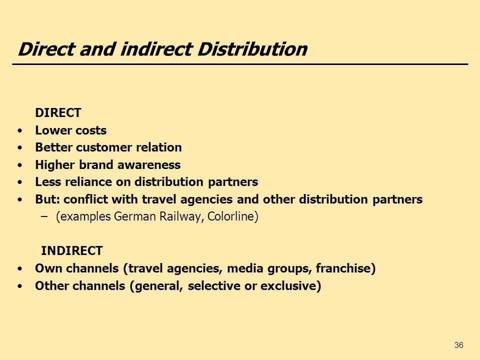 36 Direct and indirect Distribution DIRECT Lower costs Better customer relation Higher brand awareness Less reliance on distribution partners But: con