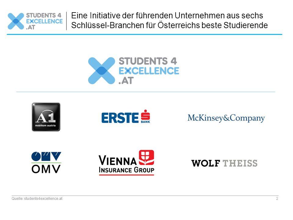 Quelle: students4excellence.at 2 Eine Initiative der führenden Unternehmen aus sechs Schlüssel-Branchen für Österreichs beste Studierende