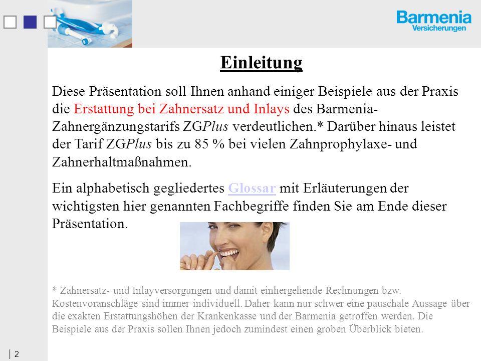 2 Einleitung Diese Präsentation soll Ihnen anhand einiger Beispiele aus der Praxis die Erstattung bei Zahnersatz und Inlays des Barmenia- Zahnergänzun