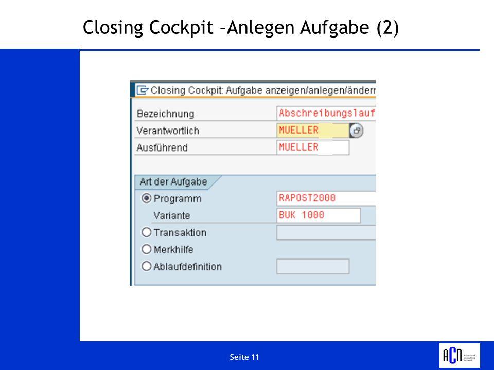 Seite 11 Closing Cockpit –Anlegen Aufgabe (2)