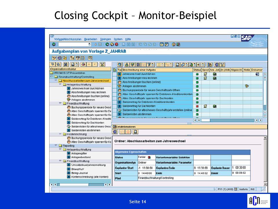 Seite 14 Closing Cockpit – Monitor-Beispiel