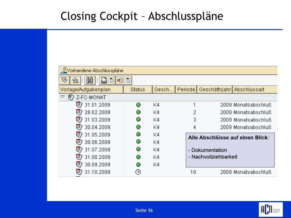 Seite 16 Closing Cockpit – Abschlusspläne