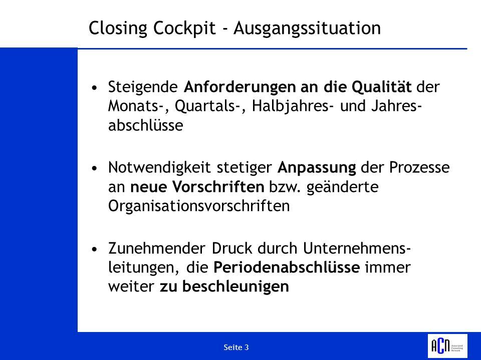 Seite 4 Vertrieb FinanzenKonzern Closing Cockpit - Ausgangssituation Beteiligte Unternehmenseinheiten Hochkomplexe Geschäftsprozesse, an denen fast das gesamte Unternehmen beteiligt ist AnlagenGeschäftsleitung ControllingEinkaufVertriebPersonalwesen Monats- bzw.