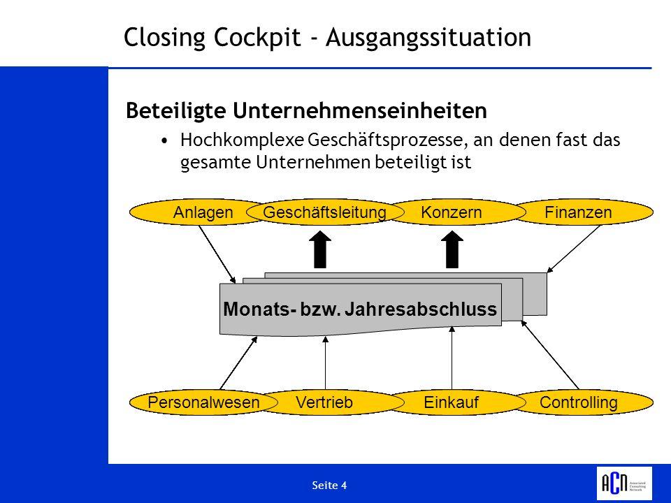 Seite 4 Vertrieb FinanzenKonzern Closing Cockpit - Ausgangssituation Beteiligte Unternehmenseinheiten Hochkomplexe Geschäftsprozesse, an denen fast da
