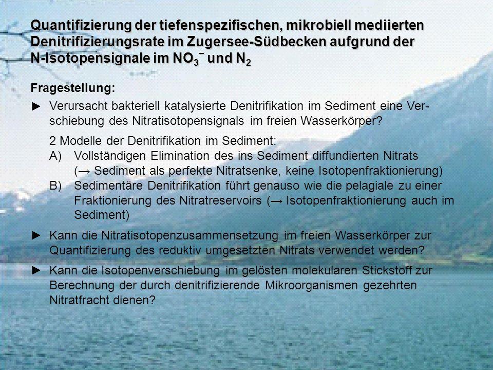 Quantifizierung der tiefenspezifischen, mikrobiell mediierten Denitrifizierungsrate im Zugersee-Südbecken aufgrund der N-Isotopensignale im NO 3 – und
